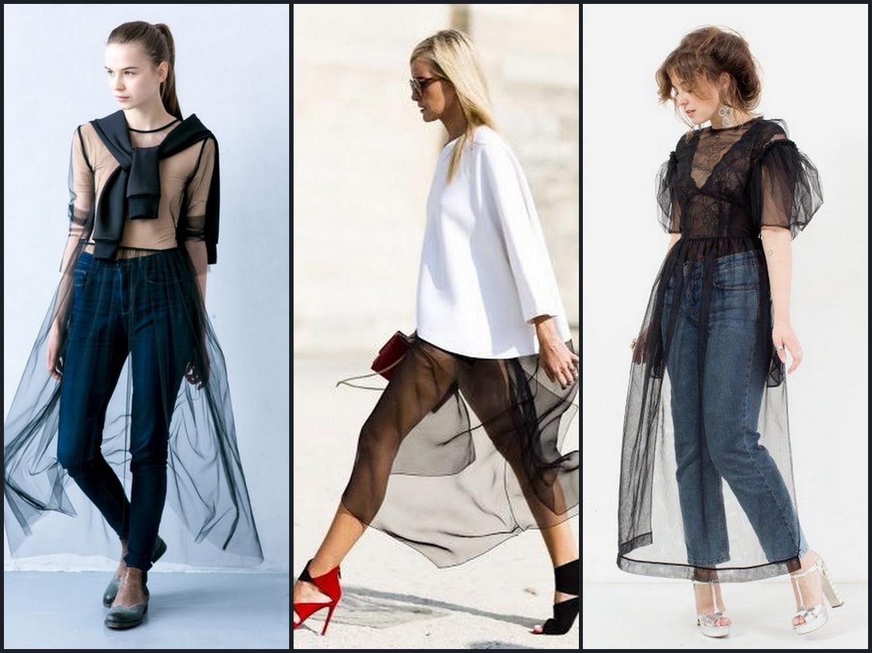 Новый тренд этого года - сочетание консервативной одежды и прозрачного верха выглядит довольно экзотично.